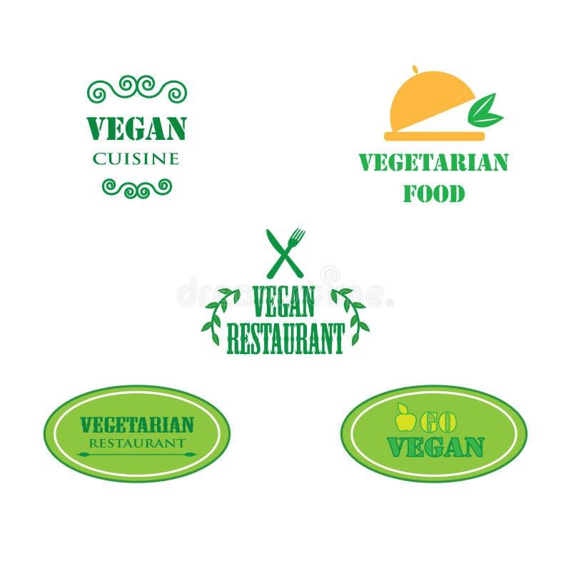 Set of labels company vegan vegetarian healthy food. stock photos