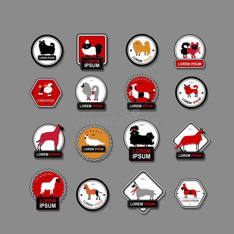 Set of labels with dogs for your design stock illustration
