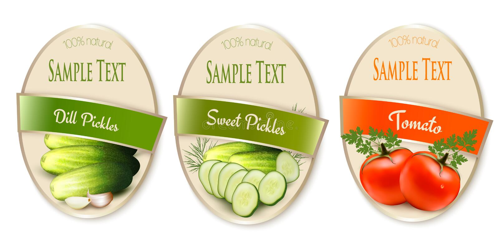 Set of labels with ecological tomato and pickles vector illustration