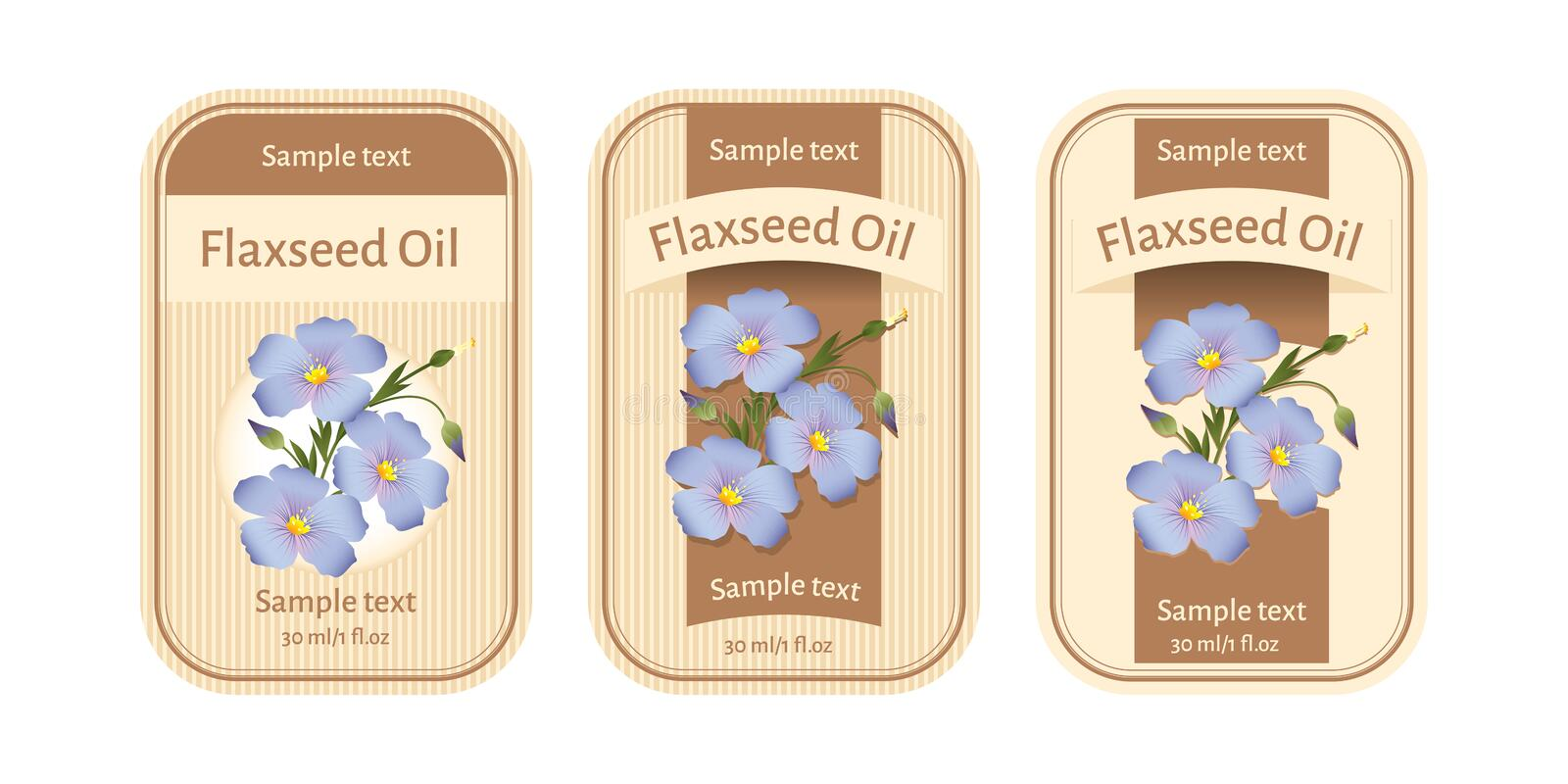 Set of labels for flaxseed oil vector illustration