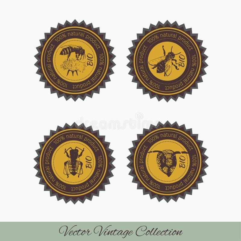 Set of labels for honey stock illustration
