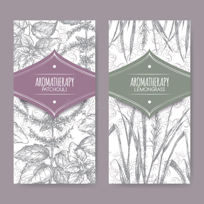 Set of 2 labels with lemongrass and patchouli stock illustration