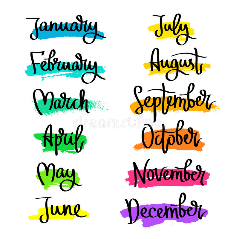 Calendar Word Art : Set of labels the months year stock vector