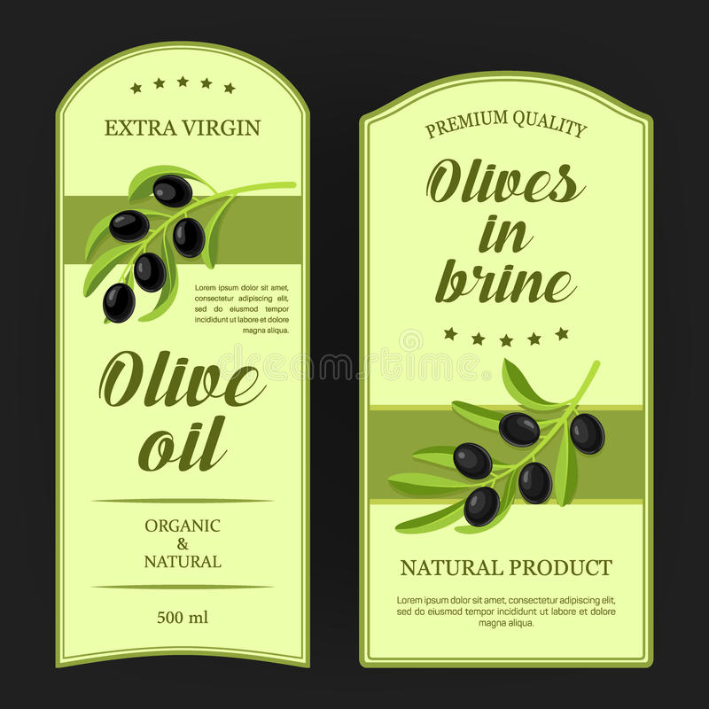 Set of labels for olive oil with black olives branches. Vector stickers used for advertising olives in brine. Set of labels for olive oil with black olives vector illustration