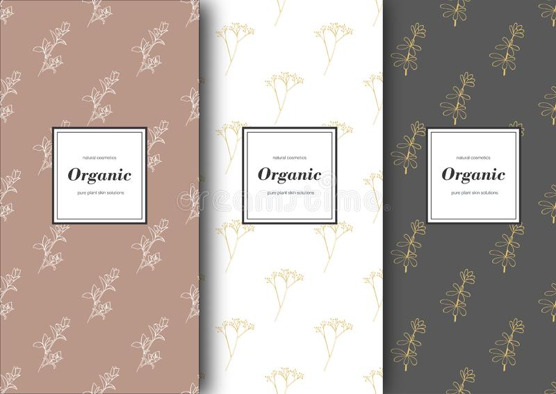 Set of labels, packaging for organic shop or natural cosmetics. Vector floral patterns with pastel colors. Template for packing product stock illustration