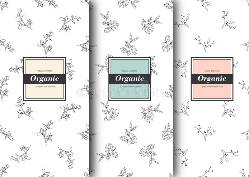 Set of labels, packaging for organic shop or natural cosmetics. Vector floral patterns Template for packing product. Set of labels, packaging for organic shop royalty free illustration