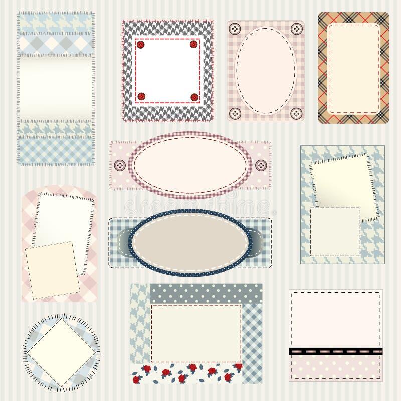 Set of labels quilting design. Frames and borders vector illustration