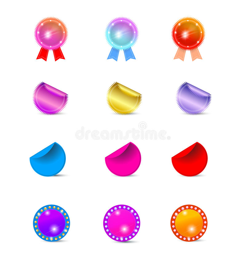 Rosettes and stickers vector illustration