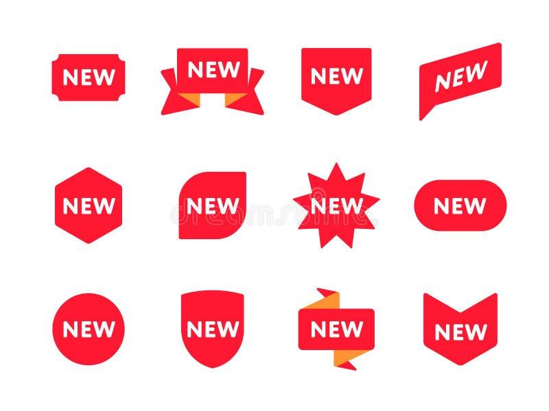 Set of labels saying New stock illustration