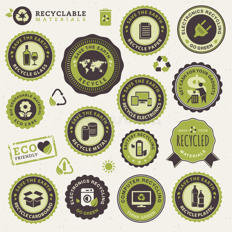 Set of labels and stickers for recycling vector illustration