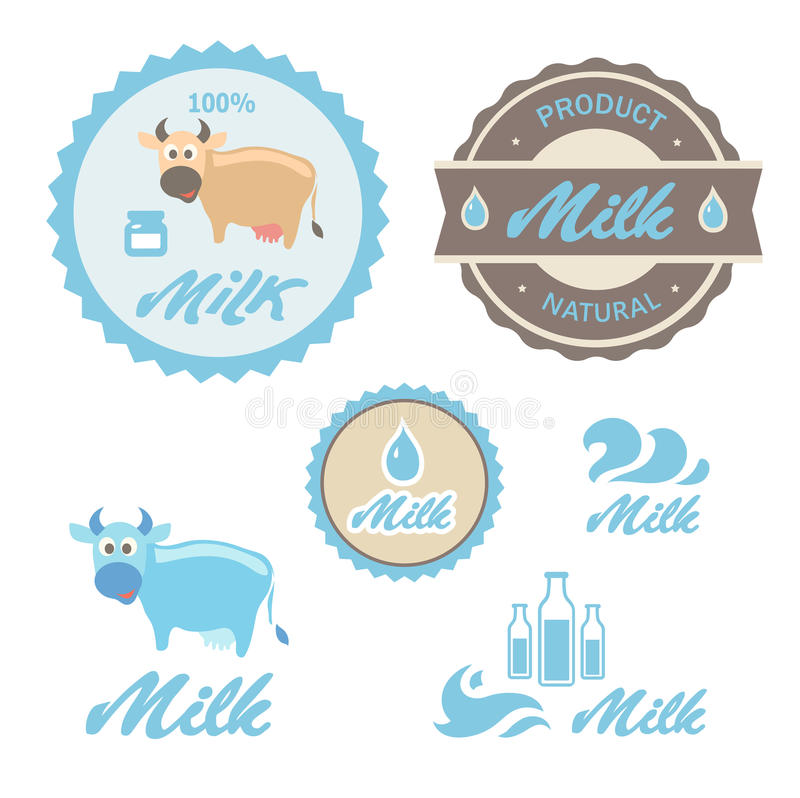 Set Of Labels And Symbols For Milk In Vector Stock Vector