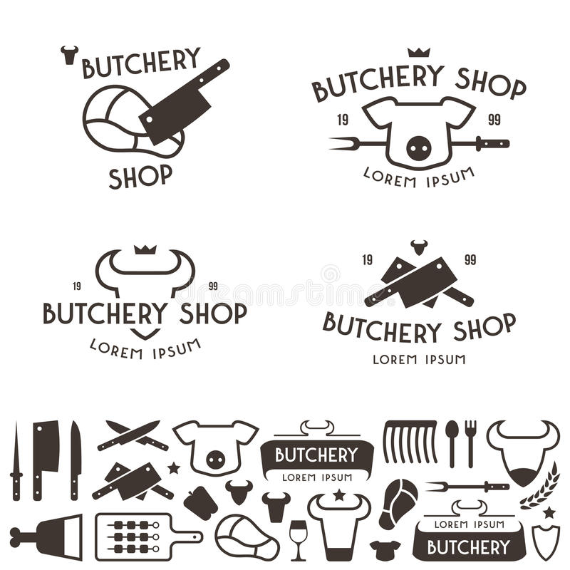 Set of labels templates and logo of butchery shop. Set of labels templates and logo of butchery meat shop and design elements. Isolated on white background stock illustration