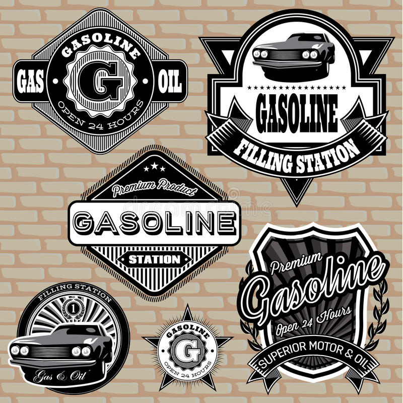 Set of labels on the topic gasoline vector illustration