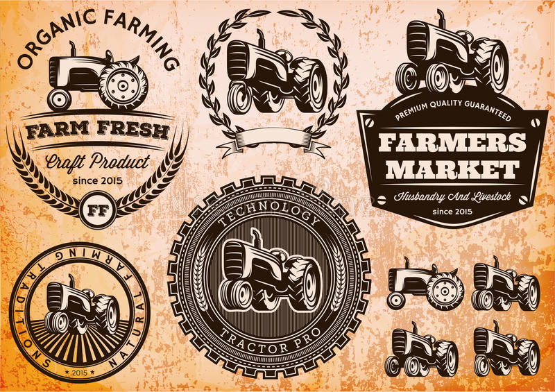 Set of labels with a tractor for livestock and crop stock illustration
