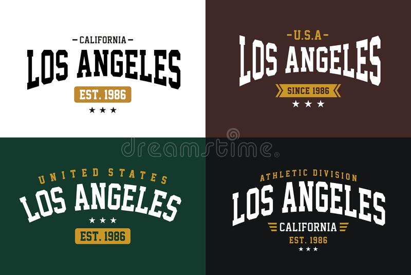 Set labels varsity style, Los Angeles athletic sport typography for t shirt print royalty free illustration