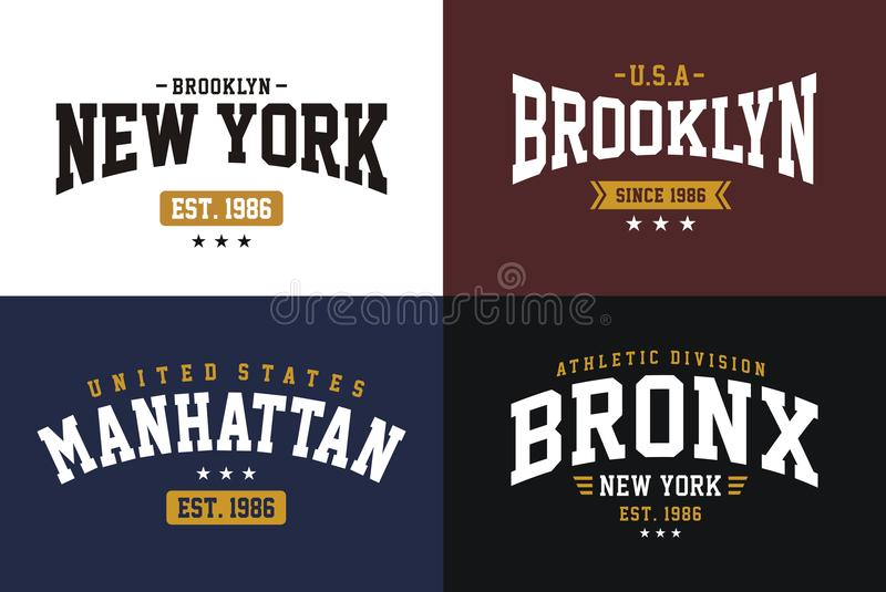 Set labels varsity style, New York Brooklyn athletic sport typography for t shirt print vector illustration