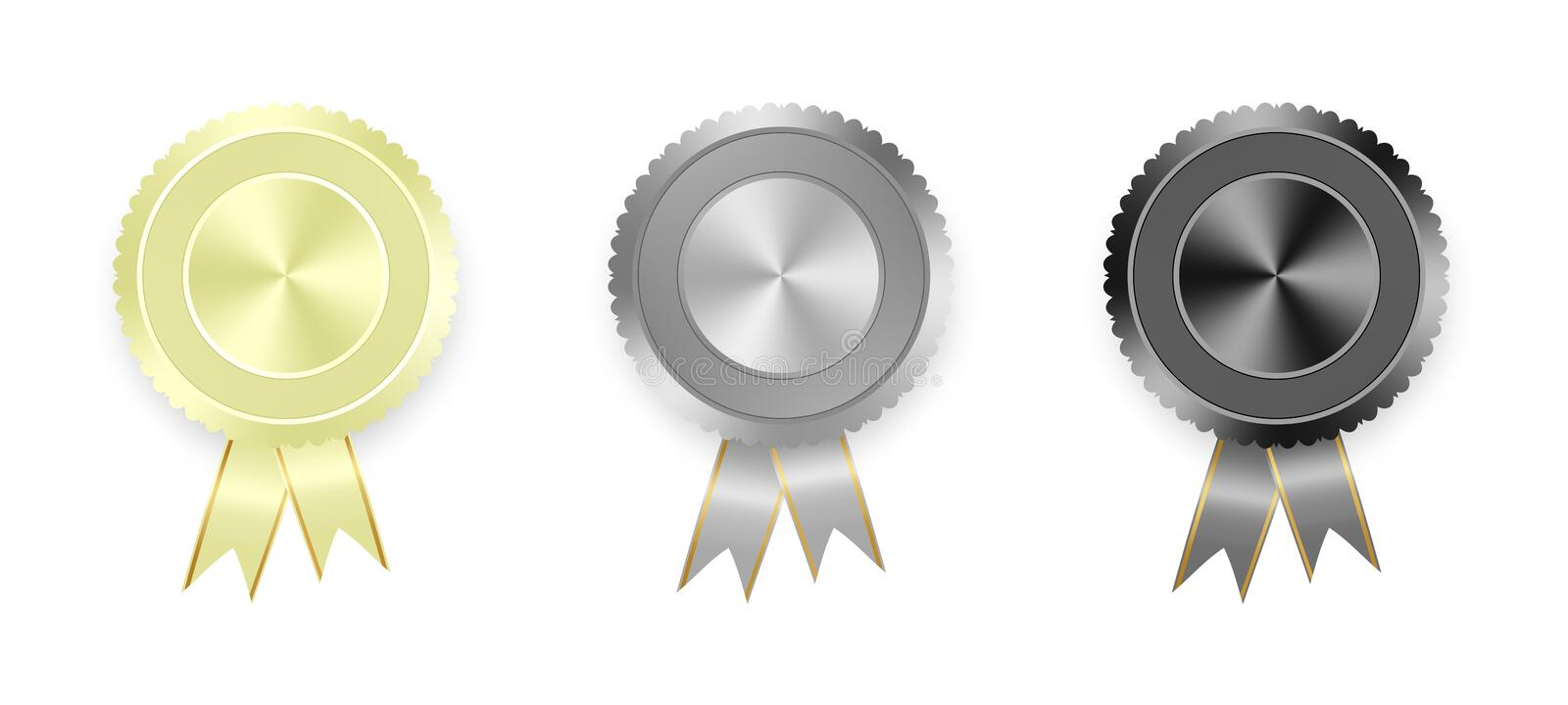 Set of labels white, gray and black with colored ribbons with gold ribbon on white background. Collection of world medals for winn stock illustration