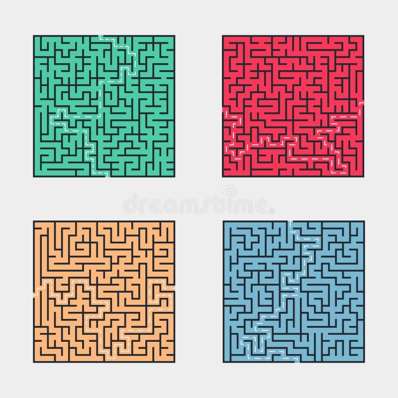 Set labirynt ikony na białym tle royalty ilustracja
