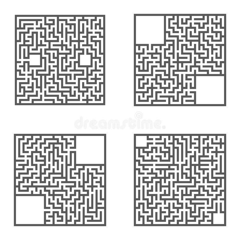 Set labirynty gemowi dzieciaki Łamigłówka dla dzieci Labitynt zagadka Płaska wektorowa ilustracja royalty ilustracja