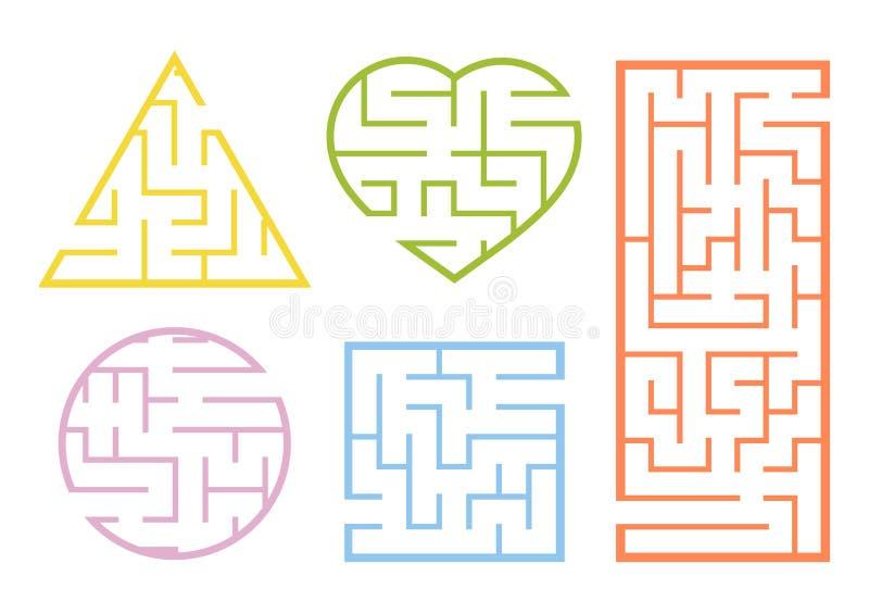Set labirynty gemowi dzieciaki ?amig??wka dla dzieci Labirinth zagadka Kresk?wka styl Wizualni worksheets Rzeszoto dla preschool ilustracja wektor