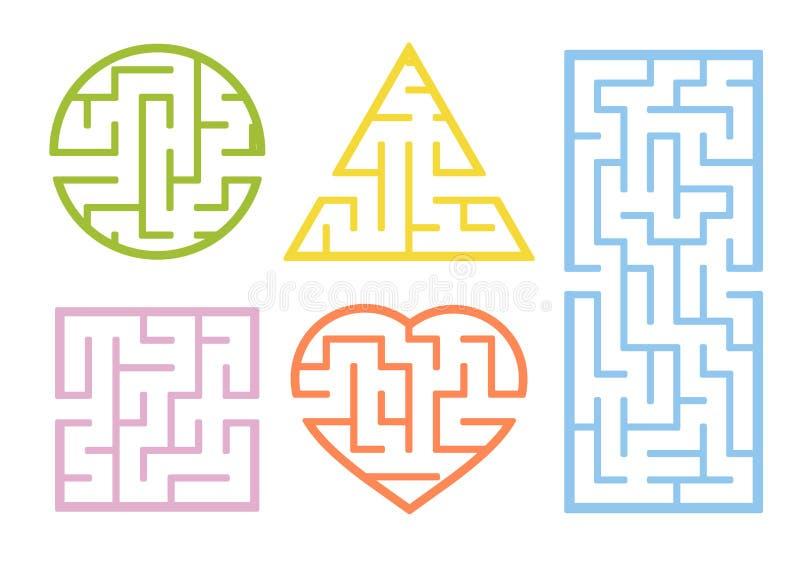 Set labirynty Kreskówka styl Wizualni worksheets Aktywności strona gemowi dzieciaki Łamigłówka dla dzieci Labirynt zagadka Koloru royalty ilustracja