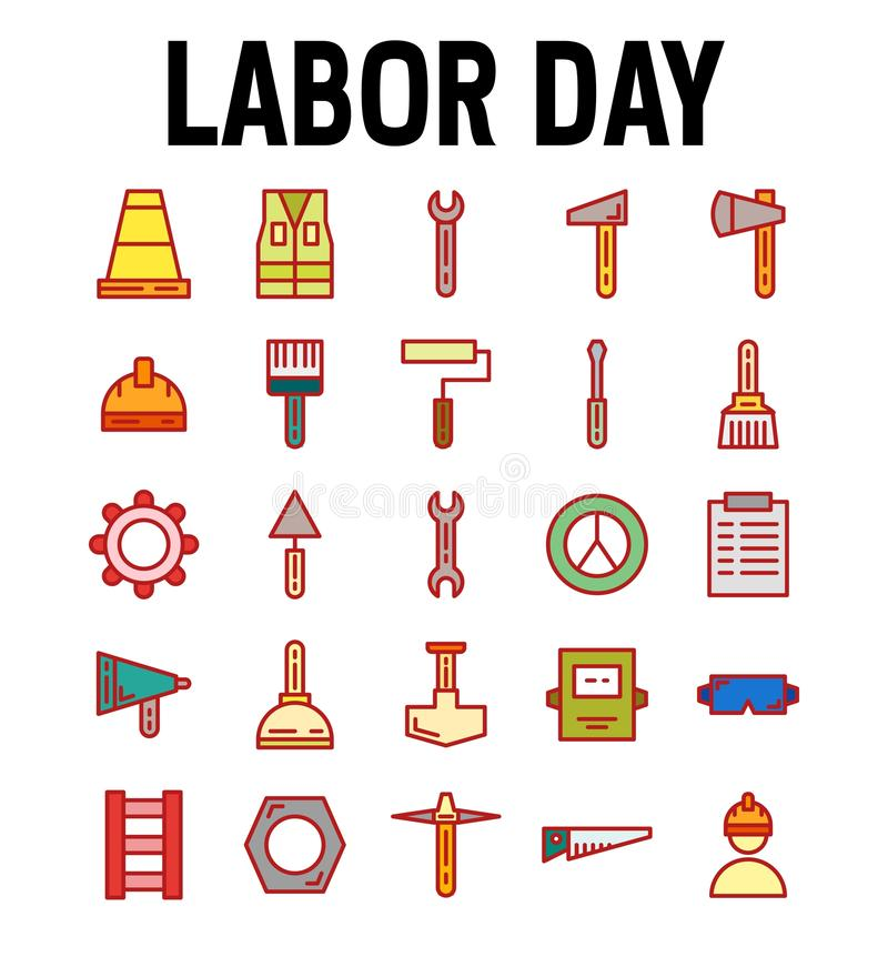 Set of Labor Day Worker Miner Vector Flat Color Icons. Contains such as Worker, Labor, Miner, Saw, Helmet, Jacket and more. royalty free illustration