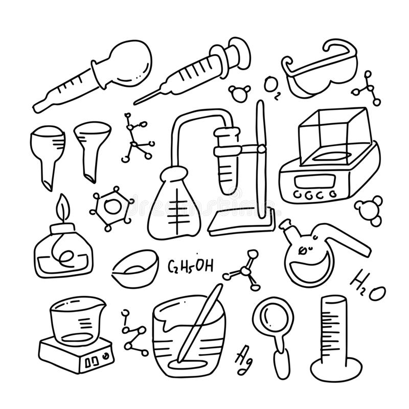 Set of laboratory equipment in black and white outlined doodle style. Hand drawn childish chemistry and science icons set. vector illustration