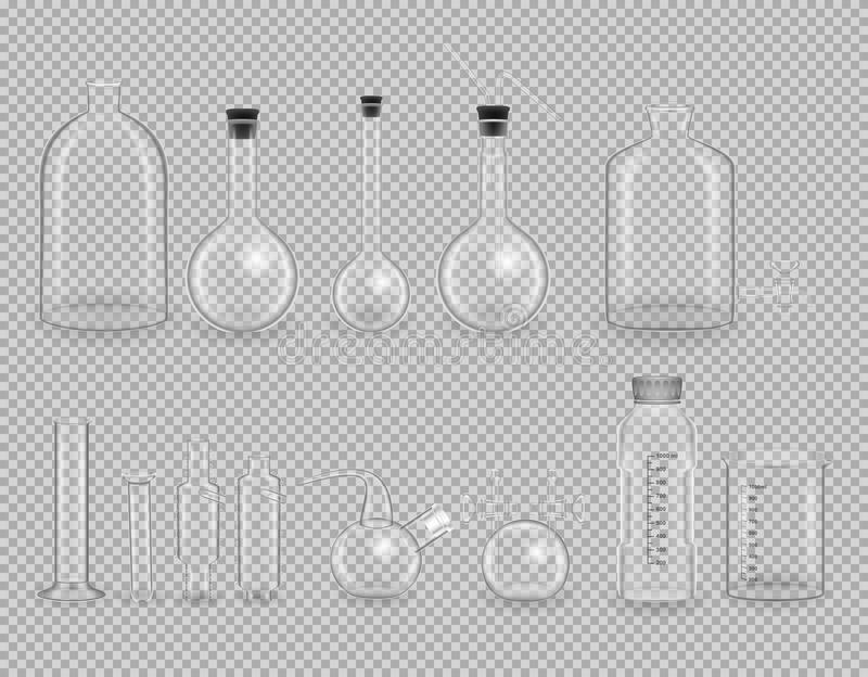 Set of scientific glassware, test tubes. Realistic templates, layouts, mockup. royalty free illustration