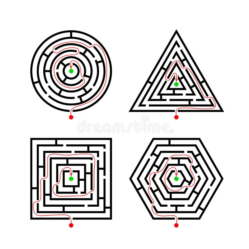 Set of Labyrinth Different Shapes for Game with with the marker correct route. Maze square, round, hexagon and triangle puzzle riddle logic game concept vector illustration