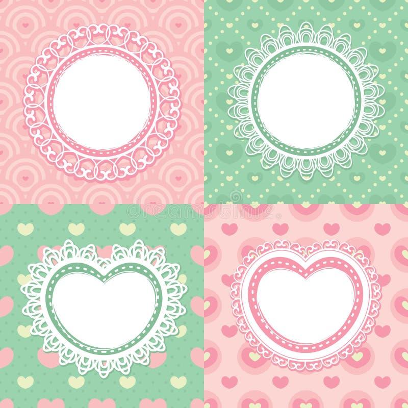 Set of lace frames royalty free illustration
