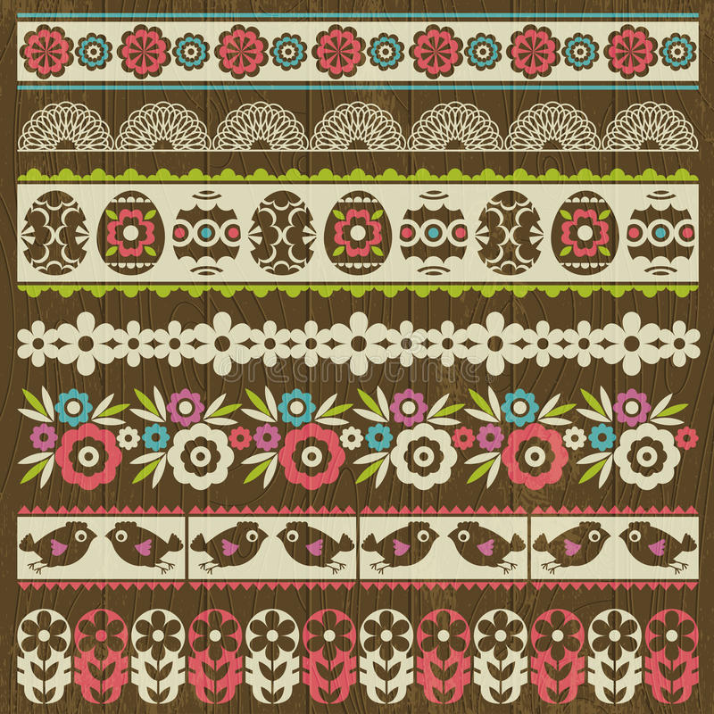 Set of Lace Paper with flower and easter eggs, vector stock illustration