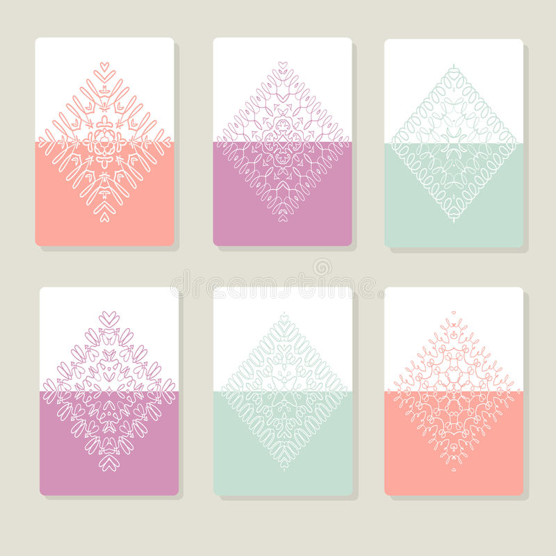 Set with lace pattern in the rhombic shape. Templates with delicate patterns for your design. Vector illustration stock illustration