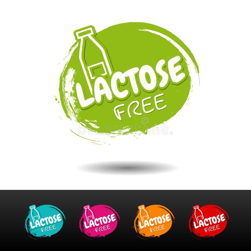 Set of Lactose free badges. stock illustration