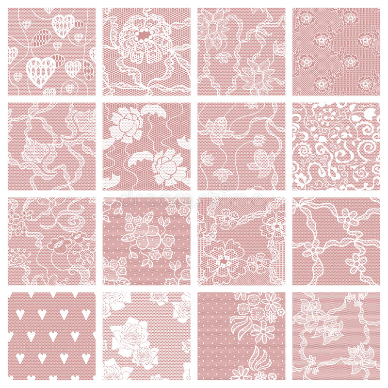 Set of lacy patterns. stock illustration