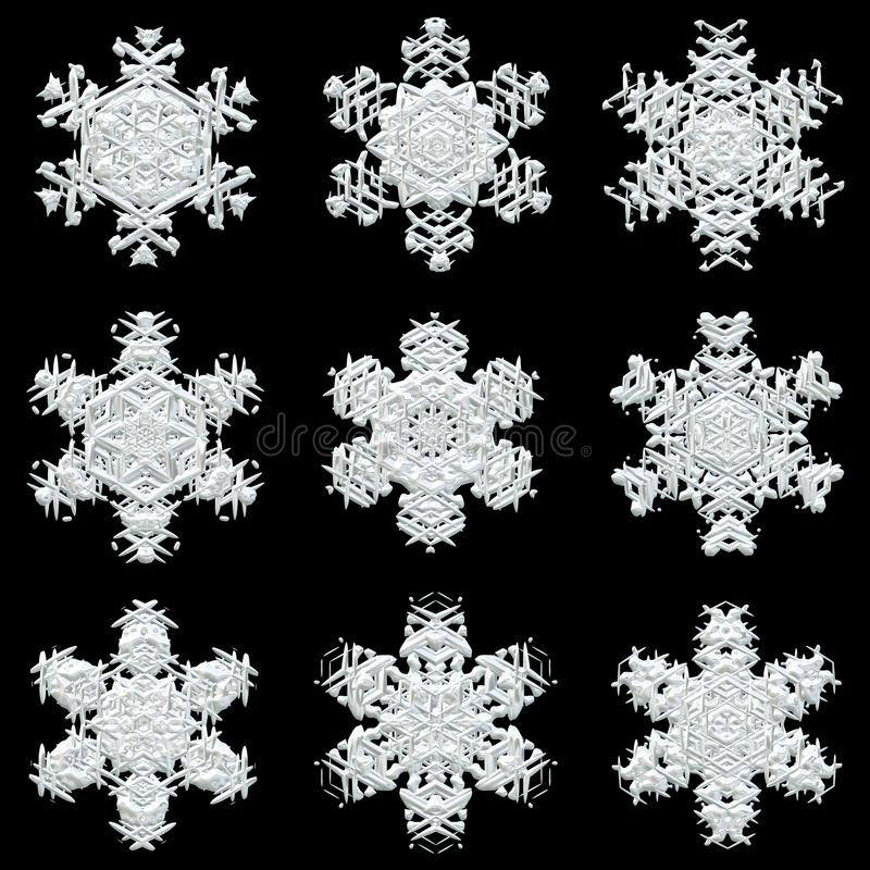 Set of lacy snowflakes stock photography