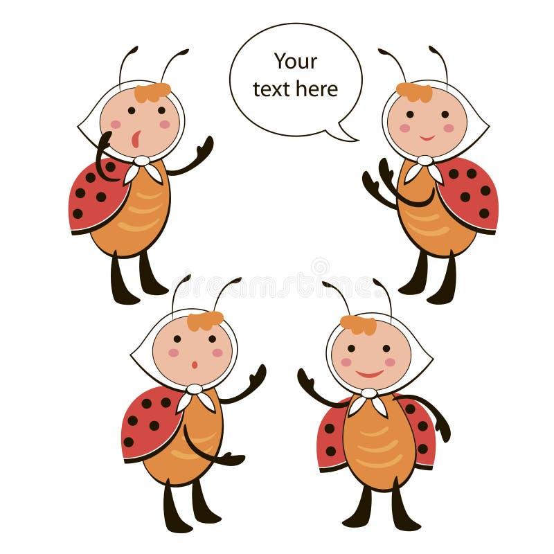 Set of ladybug characters stock photography