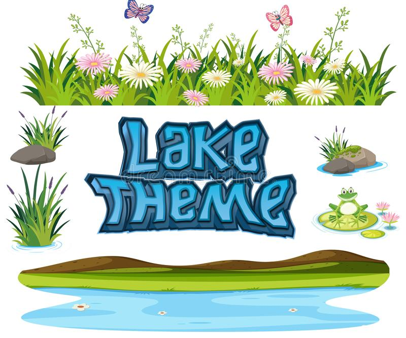 Set of lake element. Illustration royalty free illustration