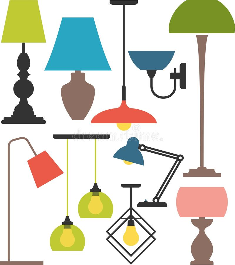 Set of lamps. Vector set of different types of indoor lighting stock illustration