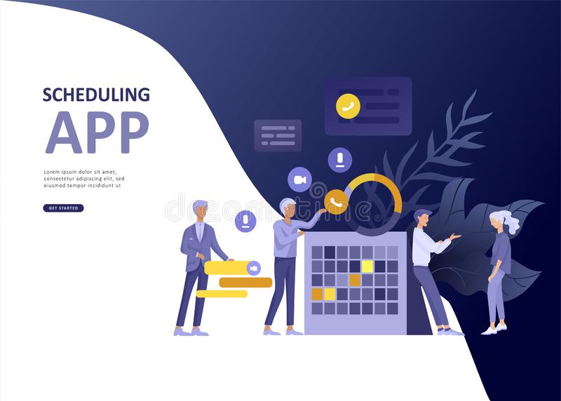 Set Landing page template people business scheduling app, strategic planning merger, investment strategies, career stock illustration