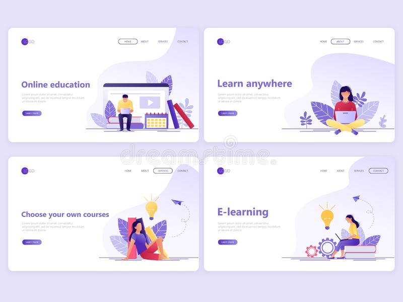 Set of Landing page templates. Distance education, online courses, e-learning, tutorials. Flat vector illustration concepts for a. Web page or website royalty free illustration