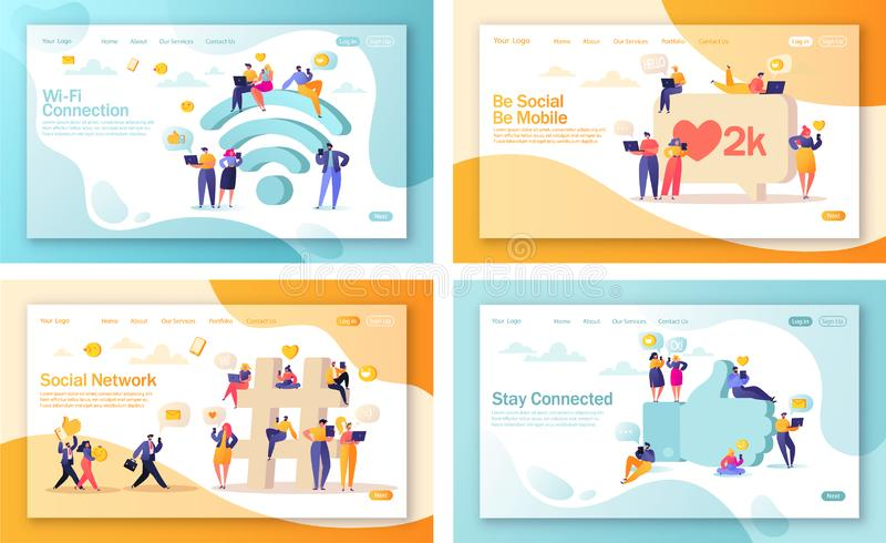 Set of concept of landing pages for mobile website development and web page design. Flat people characters chatting in social networks near big symbol emoji stock illustration