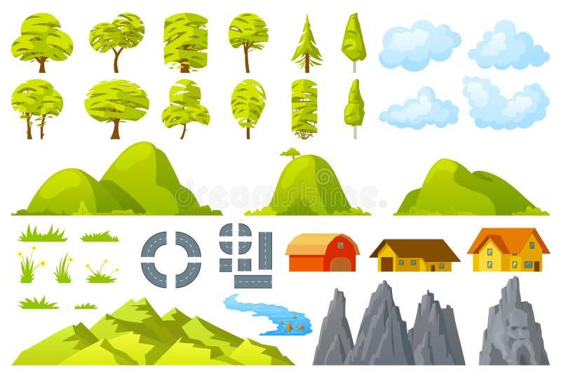 Set of landscape elements royalty free illustration