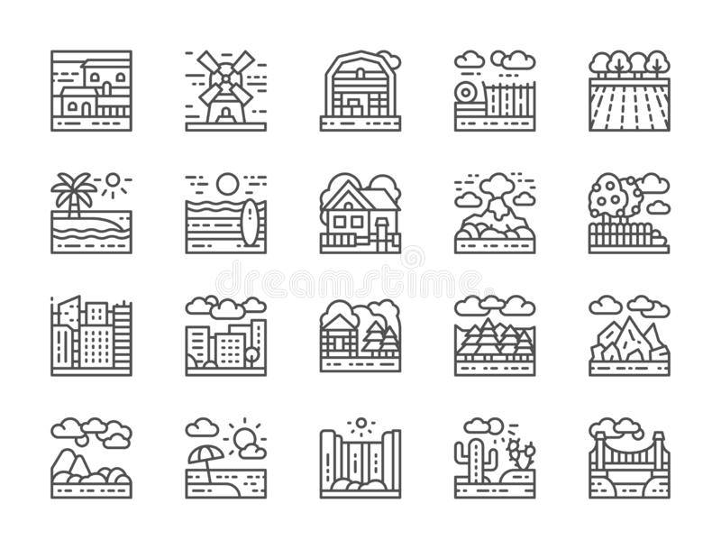 Set of Landscape Line Icons. Bridge, Desert, Waterfall, Beach, Forest and more. royalty free illustration
