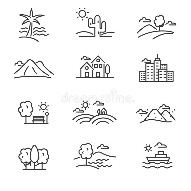 Set of landscape related vector icon line design. Such as beach, desert, mountain and more, suitable for illustration or doodle too stock illustration