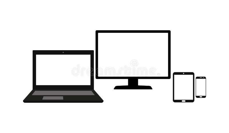 Set of laptop, computer monitor, tablet and mobile phone with blank screen isolated on white background stock illustration