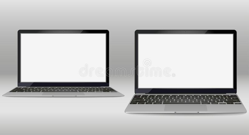set of laptop in different angles. isolated on background royalty free stock image
