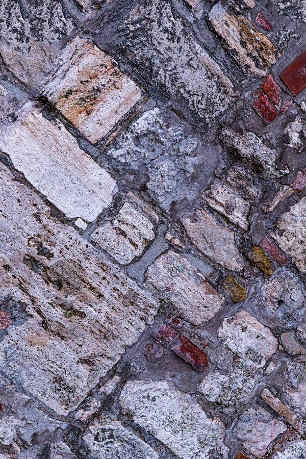 Set large small stone, hard weathered grunge base background sloping cobble gray beige royalty free stock image