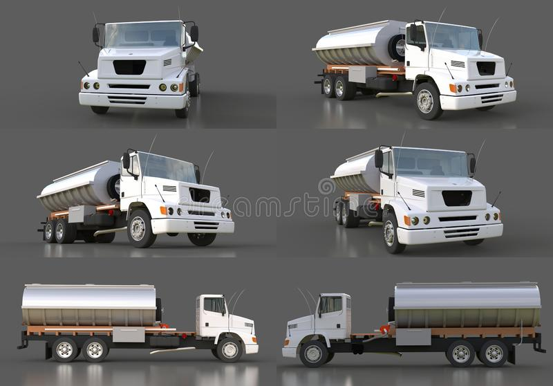 Set large white truck tanker with a polished metal trailer. Views from all sides. 3d illustration. stock illustration