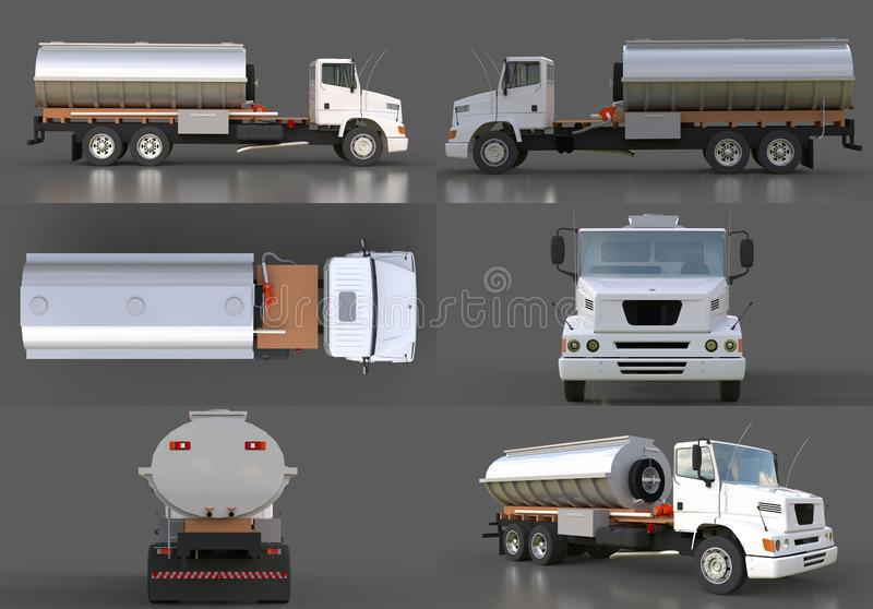 Set large white truck tanker with a polished metal trailer. Views from all sides. 3d illustration. royalty free illustration