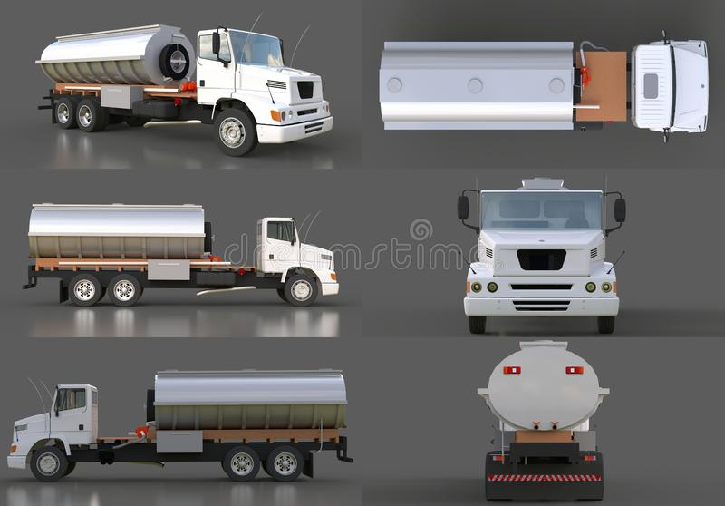 Set large white truck tanker with a polished metal trailer. Views from all sides. 3d illustration. vector illustration